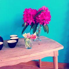 Mesa sonica y flores de primavera.