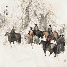 Painting by Peng Xiancheng. Japan Painting, Ink Painting, Oriental, Tinta China, China Art, Korean Art, Art For Art Sake, Chinese Painting, Horse Art