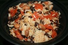 Summer Crock Pot Red Beans and Rice: -1 can of black beans --1 can of pinto beans  --1 cup of rice (we were low on brown rice, so I needed to use a bit of arborrio to round out the cup) --1 can (14.5 oz) of diced tomatoes  --1 T olive oil  --1/2 t kosher salt  --1 t Italian seasoning  --1/2 T dried onion flakes.  I'd like to try it with quinao.