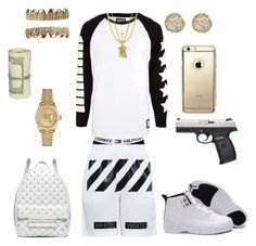 A fashion look from February 2016 featuring off white shorts, leather backpacks and gold jewellery. Browse and shop related looks. Dope Outfits For Guys, Swag Outfits Men, Stylish Mens Outfits, Tomboy Outfits, Sport Outfits, Cool Outfits, Casual Outfits, Teen Boy Fashion, New Mens Fashion