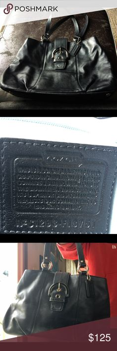 Leather Coach Handbag Excellent condition all black leather Coach Handbag, medium sized Coach Bags Shoulder Bags