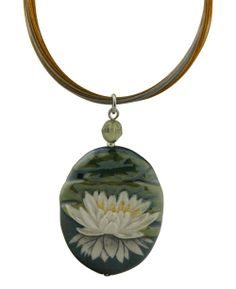 Beautifully hand painted lotus flower porcelain pendant necklace. Made in the USA, available at BuddhaGroove.com.