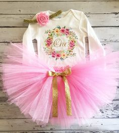 First Birthday Watercolor Wreath Outfit, Birthday Floral Wreath Bodysuit and Pink Tutu Gold Glitter One Shirt Birthday Girls Outfit Wreath Watercolor, Shabby Flowers, Gold Ribbons, Girl First Birthday, Baby Girl Gifts, Vinyl Art, Cute Gifts, First Birthdays, Little Girls