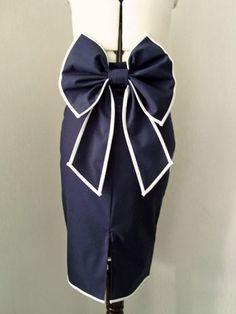 #PinupStyle. #navy. #BowTie. #PencilSkirt. #Dollchops. #etsy. #£44.00