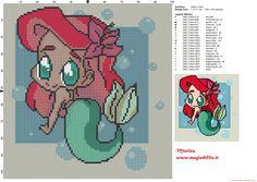 Chibi Ariel cross stitch pattern