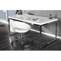 "DUŻE NOWOCZESNE BIURKO ""SELECTED"" Home Office Table, Office Desk, White Desk Design, Design Desk, Amelie, White Desks, Home Decor Inspiration, Office Furniture, Chrome"