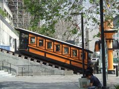 Angels Flight is a historic narrow gauge funicular railway located in the Bunker Hill district of downtown Los Angeles, California. Angel Flight, Rail Transport, Bunker Hill, Downtown Los Angeles, Locomotive, Trains, Vehicle, Angels, World