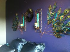 Peacock feather bedroom accent wall!