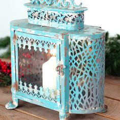 close up of moroccan detailing to the french blue lantern  http://www.madewithlovedesigns.co.uk/Gift_Pretty%20Things%20Gifts_Antique%20Vintage%20French%20Blue%20Lantern.htm