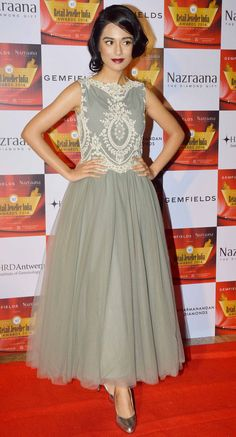 Amrita Rao in a frill-lace frock at the Retail Jeweller India Awards 2014 event. #Style #Bollywood #Fashion #Beauty
