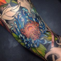 Amazing Blue Lotus Color Tattoo Design For Hand Tattoo Ideas