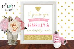 Gold and Pink Nursery Wall art Bible Verse Psalm 139 Fearfully and Wonderfully Made Glitter Sparkle Wall Art Instant Download Christian by littlebirdieprints on Etsy https://www.etsy.com/listing/241914580/gold-and-pink-nursery-wall-art-bible