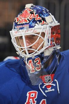 NEW YORK, NY - APRIL 09: Henrik Lundqvist #30 of the New York Rangers sports a mask honoring the Fire Department of New York (FDNY) during the game against the Ottawa Senators at Madison Square Garden on April 9, 2015 in New York City. (Photo by Jared Silber/NHLI via Getty Images)
