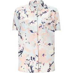 John Lewis Capsule Collection Blossom Print Silk Shirt, Multi ($27) ❤ liked on Polyvore featuring tops, collared shirt, short sleeve tops, flower print shirt, white silk shirt and short sleeve collared shirts