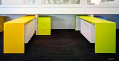 Colourful design-led collection of office storage cabinets. High and lockable storage for any modern office interior Under Desk Storage, Office Storage, Office Cupboards, Minimalist Office, Desk With Drawers, Cabinet Design, Storage Cabinets, Office Interiors, Storage Solutions