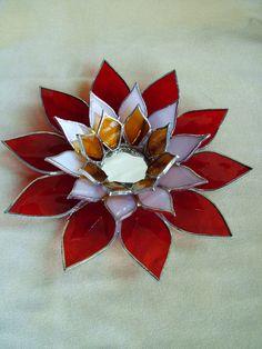 Bougie titulaire décor fleuri Tiffany feu par EmozionidiVetro