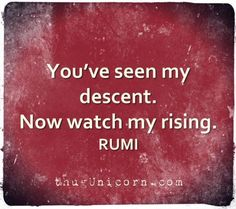 You've seen my descent. Now watch my rising. #Rumi