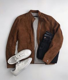 Louis Vuitton Monogram Crosss Body Leather Handles Canvas Handbag Speedy Bandouliere 25 Article: – The Fashion Mart Brown Leather Jacket Men, Classic Leather Jacket, Lambskin Leather Jacket, Vintage Leather Jacket, Denim Jacket Men, Brown Jacket, Leather Jackets, Mens Casual Dress Outfits, Winter Fashion Outfits