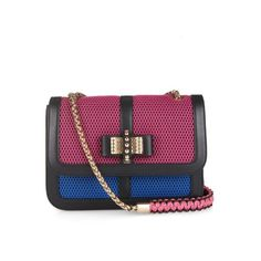 CHRISTIAN LOUBOUTIN Sweet Charity small shoulder bag ($1,560) ❤ liked on Polyvore featuring bags, handbags, shoulder bags, pink multi, pink shoulder bag, christian louboutin, pink bow purse, purple purse and christian louboutin purse