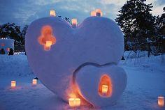 lanterns in snow heart sculptures, so lovely