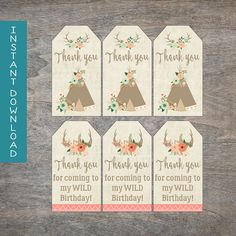 Tribal Gift Tags Wild One 1st Birthday by TheLittlePeacockShop
