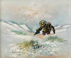 Artist Adds Pop Culture Characters to Breathe New Life into Old Thrift Store Paintings - My Modern Met