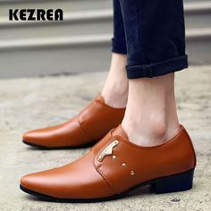 0962d310a0e7 Kezrea Men Formal Shoes Mens Slip-On Shoes PU Leather Brown Black Elastic  Band Men Dress Shoes Office Party Wedding Shoes