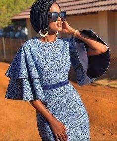 Traditional African Shweshwe Dresses Styles For Women. Shweshwe attires are a cotton indigo Fab Short African Dresses, Latest African Fashion Dresses, African Print Dresses, African Print Fashion, Africa Fashion, African Attire, African Wear, African Fashion Traditional, African Print Dress Designs