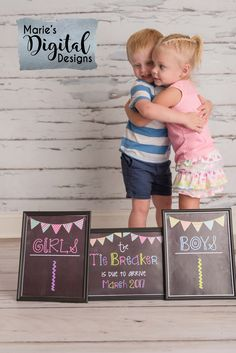 This affordable printable pregnancy announcement photo props are the perfect way to share the exciting news of baby number three! Pregnancy Reveal / Printable Chalkboard Pregnancy Announcement by Marie's Digital Designs / Boys vs Girls - Tie Breaker / Baby #3 / Third Baby