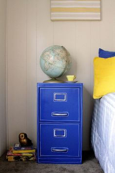 blue filing cabinet-would love this in the play room to hold school memorys