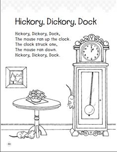 Hickory Dickory Dock: Early Reading Comprehension...also has great -ock family words and beg blends
