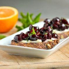 Breakfast Bruschetta with Fresh Cherries and Orange Mascarpone