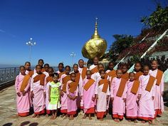 Novice nuns at the Golden Rock in Myanmar. Photo taken w/ a Canon s90.