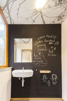 Chalkboard wall.  Cute idea.