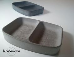 Small Divided Concrete dry spice pinch plate salt and pepper or other serving use