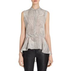 Alexander McQueen Silk Peplum Shirt ($430) ❤ liked on Polyvore featuring tops, peplum shirt, shirt top, silk peplum top, ruffle hem top and silk sleeveless top