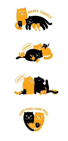 Sets With Cute Cats by Olha Onishchuk, via Behance