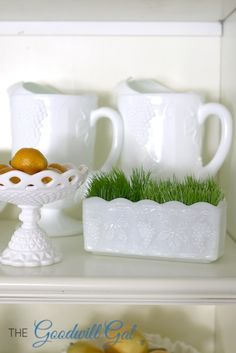 Milk Glass Collection. #thrift #Goodwill #vintage