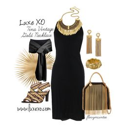"""Luxe XO Tina Vintage Gold Necklace"" by florymcintee ❤ liked on Polyvore featuring Boutique Moschino, Mara Hoffman, STELLA McCARTNEY, Christian Dior, Tory Burch, vintage and luxexo"
