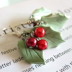 Christmas Earrings  Holly Leaves  Polymer Clay