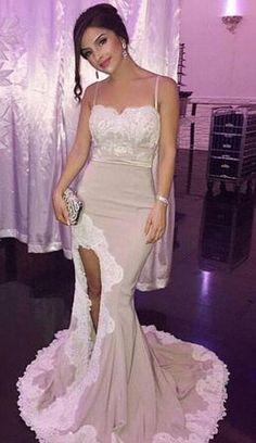 2017 prom dress, mermaid long prom dress, straps mermaid long evening dress with side slit