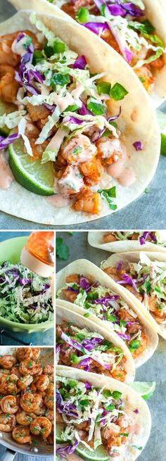 These Spicy Sriracha Shrimp Tacos fast, flavorful, and topped with a zesty Cilantro Lime Slaw that will rock yours socks! Healthy, Dairy-Free, + Gluten-free dinner tacos Spicy Sriracha Shrimp Tacos with Cilantro Lime Slaw - Peas And Crayons Fish Recipes, Mexican Food Recipes, Healthy Recipes, Healthy Tacos, Slaw Recipes, Shrimp Dinner Recipes, Low Carb Shrimp Recipes, Cilantro Recipes, Recipies