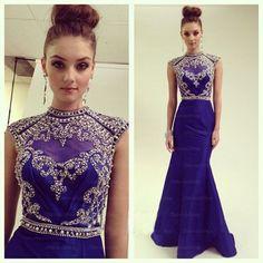 Modest rhinestone prom dress, blue prom dress, prom dress online, 2015 new prom dress, formal prom dress, 16064