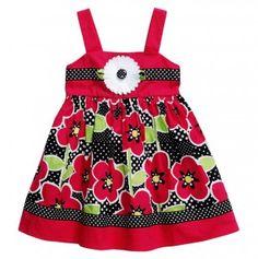 Infant Floral Dress with Polka Dot Trim