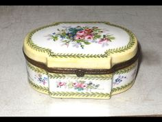 """1771 Signed SEVRES BOX. The base is 3 3/4"""" x 2 1/4"""". The bronze rims were reglued long ago. A glaze skip line is shown on the inside bottom; that is not a crack. The lid swing is very good as is the snap latch.   eBay!"""