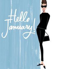 Hello January Quotes, January Wallpaper, Cheap Beach Decor, Megan Hess, Illustration Mode, Photo Illustration, Months In A Year, Boho Decor, Fashion Art