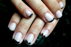 Shellac black tips french manicure
