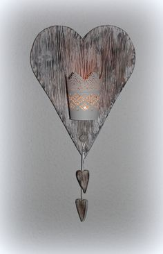 Deko-Objekte - Holzherz mit Windlicht - ein Designerstück von faxe64 bei DaWanda