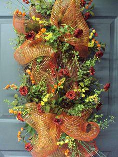 Fall Wreath Front Door Wreath Door Wreath by PeriwinkleSilks