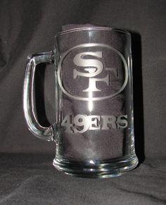 NFL San Francisco 49ers Logo Hand Etched on 15 oz by NanajofNine, $12.00